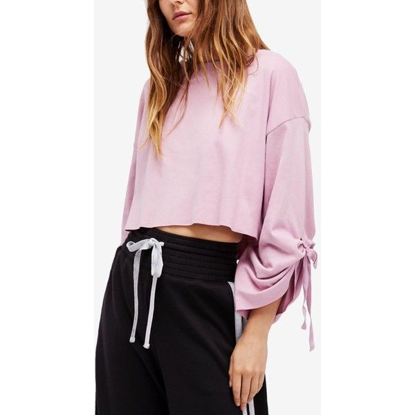 Free People Holala Cropped Cotton Sweatshirt ($31) ❤ liked on Polyvore featuring tops, hoodies, sweatshirts, rose, bow crop top, crop tops, tie crop top, tie sleeve top and oversized tops