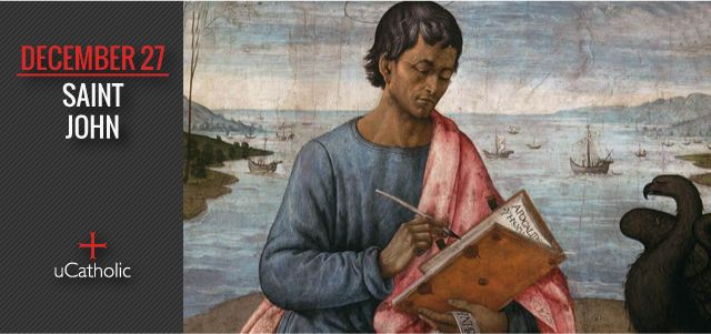 St. John; the beloved, the apostle, and the evangelist. He is author of the Fourth Gospel, three New Testament letters and the Book of Revelation. His Gospel is a very personal account. Into his care, Our Lord commanded his Mother from the Most Holy Cross.