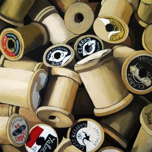"""""""Vintage Wood Thread Spools - realism still life oil painting"""" - Original Fine Art for Sale - © Linda Apple"""