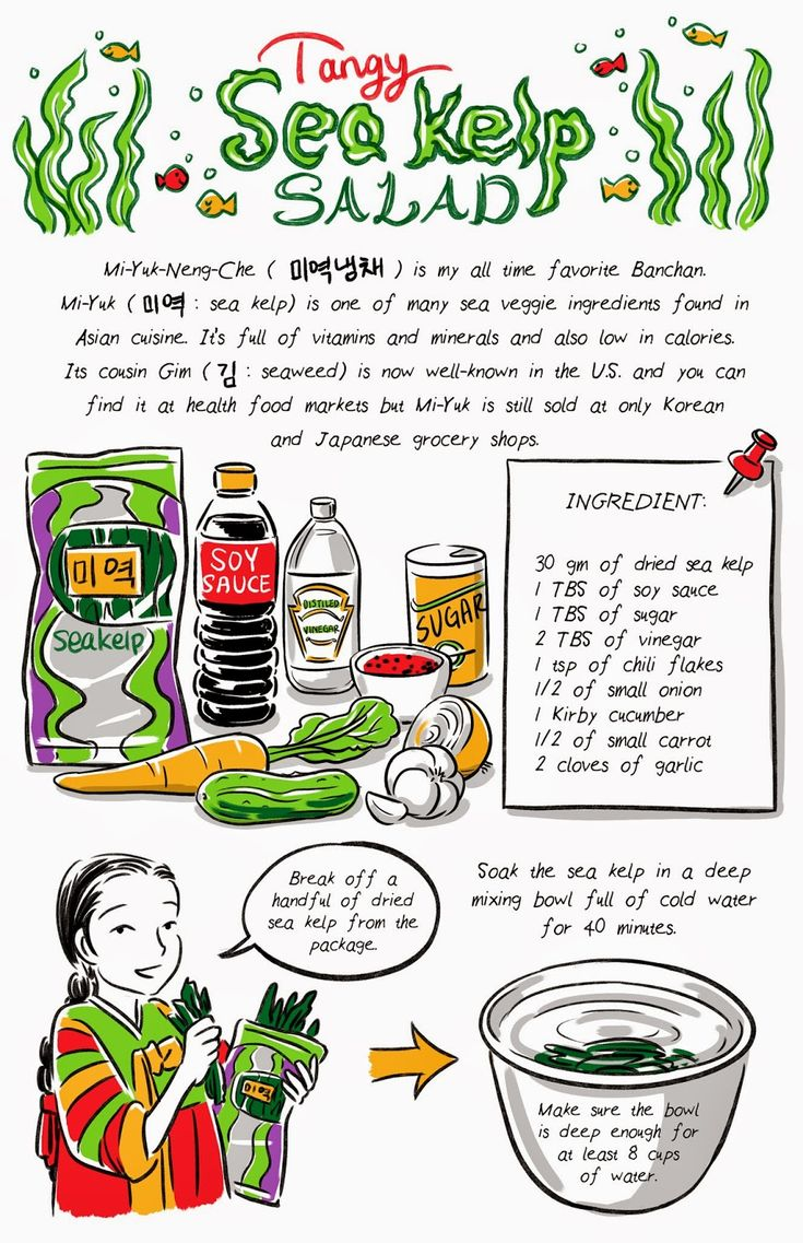 Tangy and refreshing sea kelp salad recipe from Banchan in Two Page: Korean cooking comics by Robin Ha. Korean food, Korean recipe, Food Illustration, Cook Korean! http://banchancomic.tumblr.com/