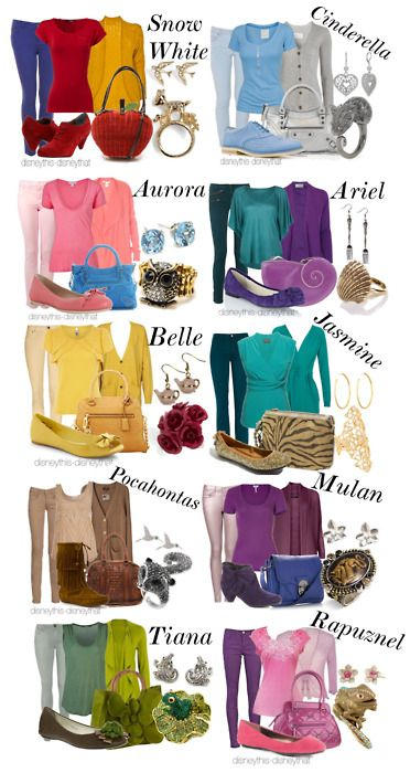 The casual Disney princess inspired outfits; Disney Fashion--What a cute idea. ;)