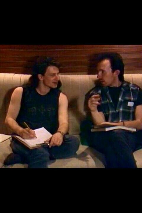 "U2 ~ Bono and The Edge during the recording of ""The Unforgettable Fire""."
