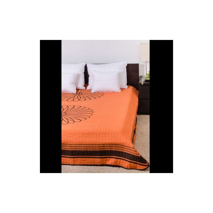 VIRÁG narancs ágytakaró 250x260 cm, Díszpárna.com Webáruház