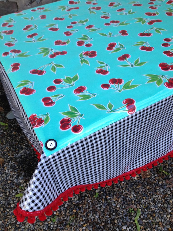 Retro Round Oilcloth Tablecloth With Cherries On Seafoam Green And Black  Gingham By NowandThenCt On Etsy