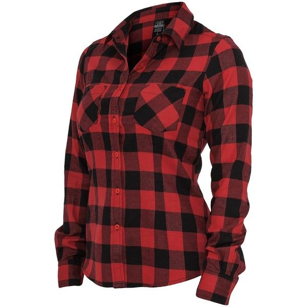 Urban Classics Ladies Hemd Checked Flanell Shirt, TB388 schwarz/rot ($32) ❤ liked on Polyvore featuring tops, shirts, blusas, long sleeves, shirts & tops, extra long sleeve shirts, red shirt, red long sleeve shirt and long sleeve shirts