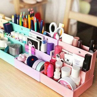 10 pcs/lot DIY Korea Japan style Paper Stationery Makeup Cosmetic Desk Organizer Storage Box 2 Colors Free Shipping-in Storage Boxes & Bins from Home & Garden on Aliexpress.com