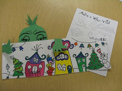 """The Elementary Art Room!: Whoville  Third graders have really enjoyed making """"Whoville"""" in Art class. Each student has a long piece of paper to fill with Who houses and trees. We even made the grinch peeking over the town. This has been a great project to inspire the third graders during these long school days before break!"""