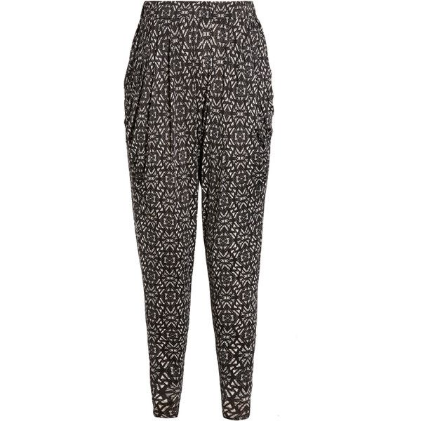 City Chic Aztec Pant (£37) ❤ liked on Polyvore featuring pants, tapered trousers, elastic waistband pants, aztec print pants, tapered pants and stretch waist pants