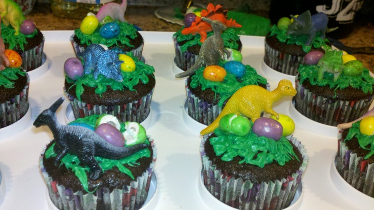 Dinosaur cupcakes Birthday treat snack for school  I actually cooked ...