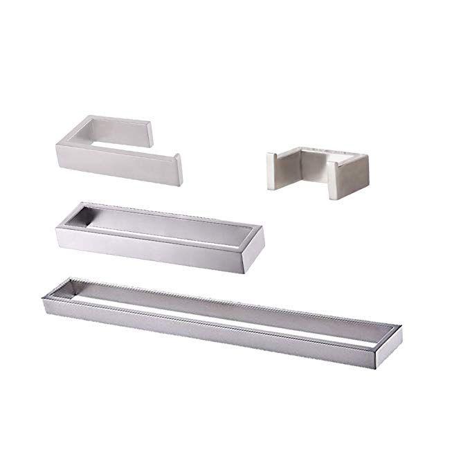 4 Pcs Stainless Steel Bathroom Accessory Set RUSTPROOF Modern Brushed Finish