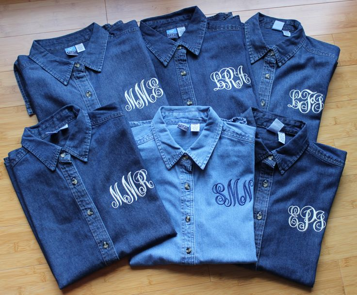 Monogrammed Denim Shirt  For Brides, Bridesmaids and Even Your Flower Girl! by ElleBCreations on Etsy https://www.etsy.com/listing/211581049/monogrammed-denim-shirt-for-brides