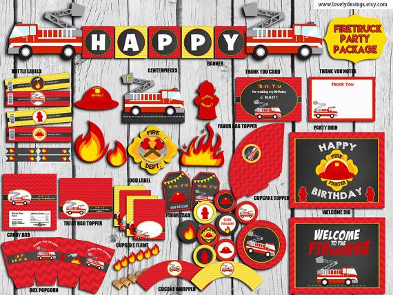Firefighter Party Package INSTANT DOWNLOADFire von TheLovelyDesigns