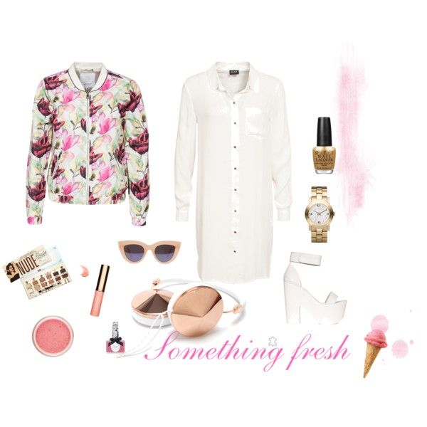 Spring look/Something fresh by camelia-tugurlan on Polyvore featuring VILA, Elvine, Windsor Smith, MARC BY MARC JACOBS, Frends, TheBalm, Clarins, OPI and Ciaté