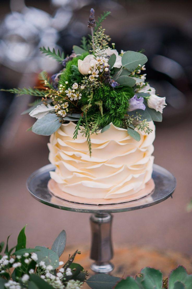 Greenery topped petal cake