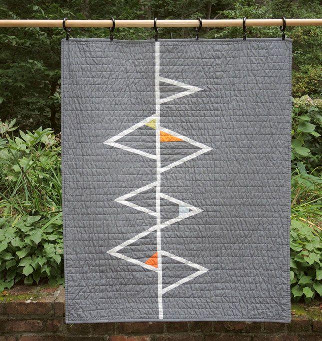 "Really fun ""Modern Geometric Quilt - Grey Triangles II"" by Barbara Perrino."
