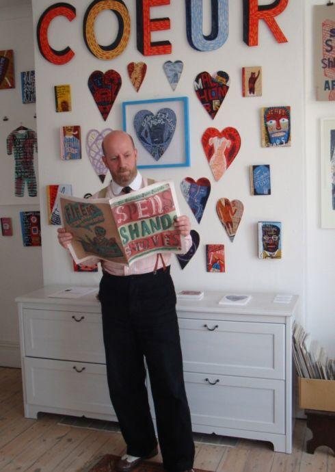 Jonny Hannah, illustrator-in-residence in ' Darktown' and a sharp-dressed man