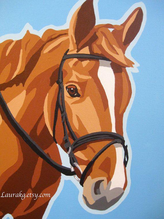 Custom 8x10 Pop Art Horse Portrait Painting.
