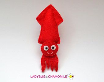 Felt Squid Stuffed Felt Squid Magnet Or Ornament Cute Squid Squid
