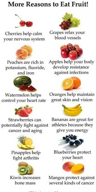 All those vitamins, antioxidants and phytochemicals keep the body healthy!! (btw, the body cant get antioxidants and phytochemicals from supplements! eat your vitamins, dont take a pill!)