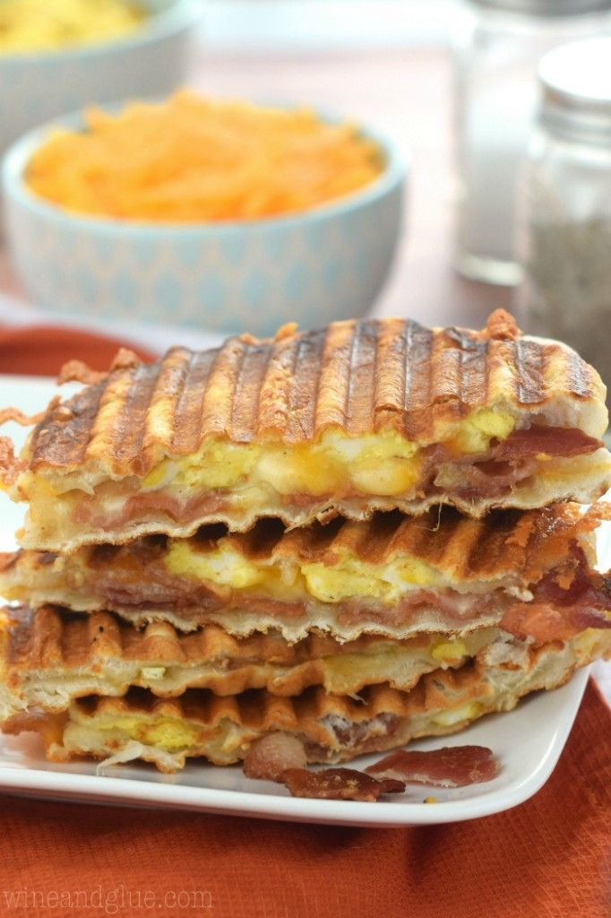 Bacon and Eggs Biscuit Breakfast Panini-Pressing biscuits=total mind blow.