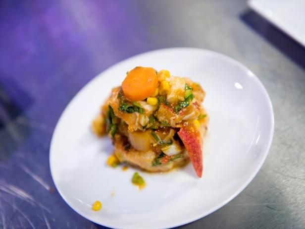Get Lobster Stew with Roasted Red Pepper Potato Cakes Recipe from Cooking Channel