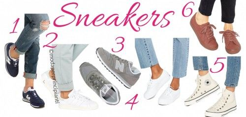Le scarpe da ginnastica base dovranno essere bianche (in estate), beige, blu o grigie, scartate il nero che le fa sembrare sempre scarpe ortopediche. Cercate modelli semplici, altrimenti non saranno affatto base e saranno quindi difficili da abbinare, ricordate che una scarpa da ginnastica rende sempre il look più sciatto per evitarlo basta abbinare capi di colori che la richiamino. Da non dimenticare nemmeno che le scarpe più grosse e spesse staranno meglio a chi ha una gamba non sottile.
