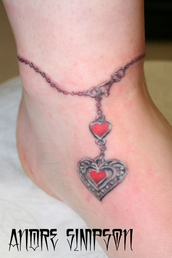 super cute! only would want 1 heart or 3 not 2. gems more realistic 3D looking. Quote along the top of the anklet.