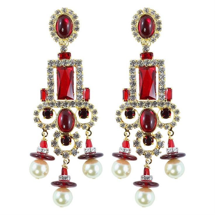 Lawrence VRBA Signed Statement Earrings - Ruby Red Cabochons (clip-on)