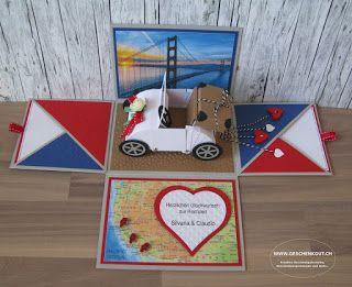 Flitterwoche Westküste USA Überraschungsbox Explosionsbox Geschenkbox Geschenkgutschein Geldgeschenk Reise Hochzeit