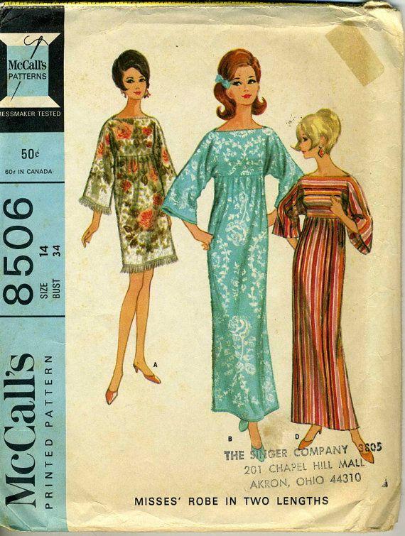 Vintage 60s Mccalls 8506 Misses Towel Caftan Or Robe