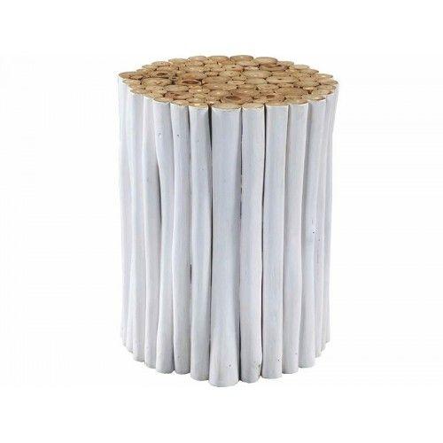 Σκαμπό κατασκευασμένο από κομμάτια κορμών teak σε λευκή απόχρωση. Ένα πρωτότυπο έπιπλο που μπορεί να χρησιμοποιηθεί και ως βοηθητικό τραπεζάκι και κομοδίνο.    Για τη διαθεσιμότητα του επίπλου παρακαλώ επικοινωνίστε με το κατάστημα.