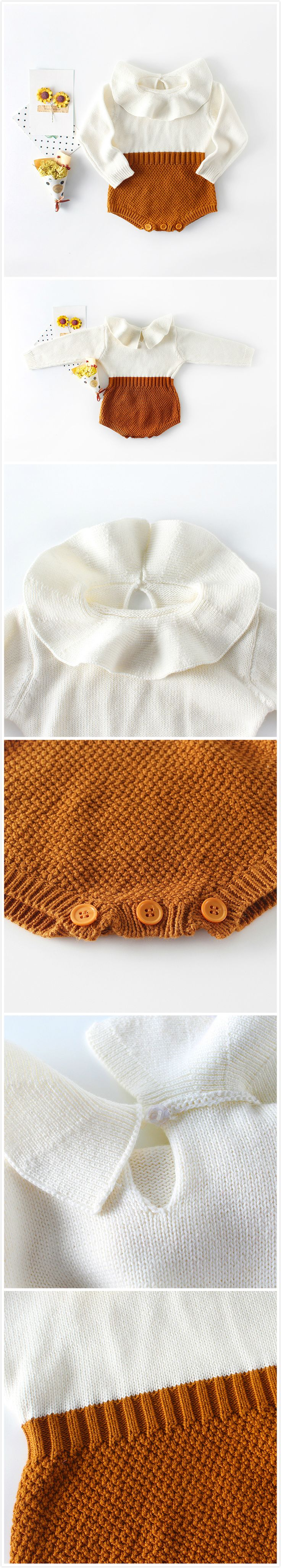 3-Color Baby Girl Knitting Wool Romper For Autumn