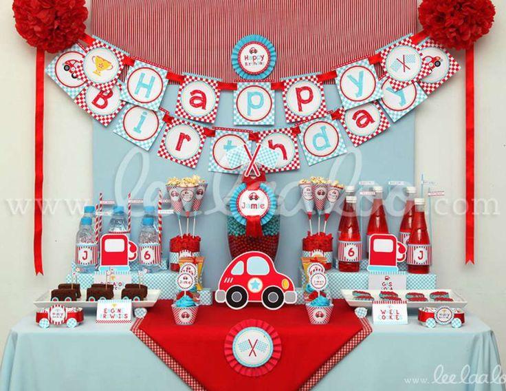 Cute Race Car Birthday Party Theme -B36