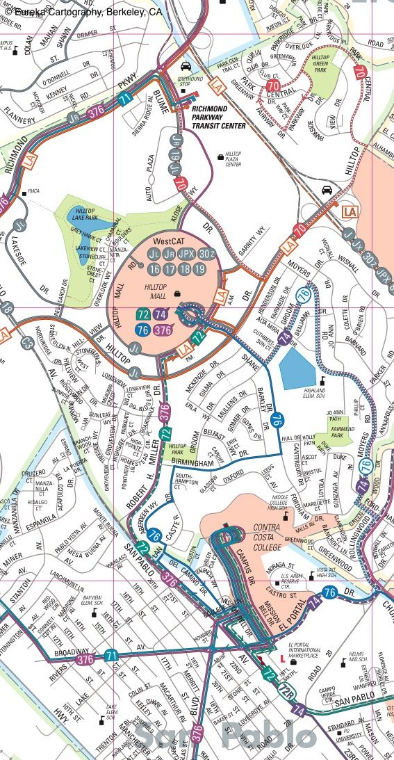 Alameda Contra Costa County Bus map © Eureka Cartography, Berkeley, CA