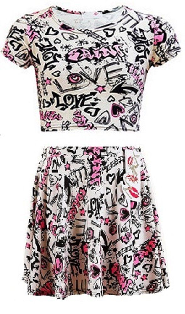 NEW KIDS GIRLS GRAFFITI SCRIBBLE CROP TOP/SKATER SKIRT 7-13: Amazon.co.uk: Clothing