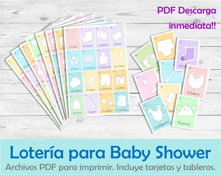 Lotería para Baby Shower. Juego para baby shower. Archivo PDF para imprimir. Loteria imprimible. Baby shower bingo Spanish. Instant download