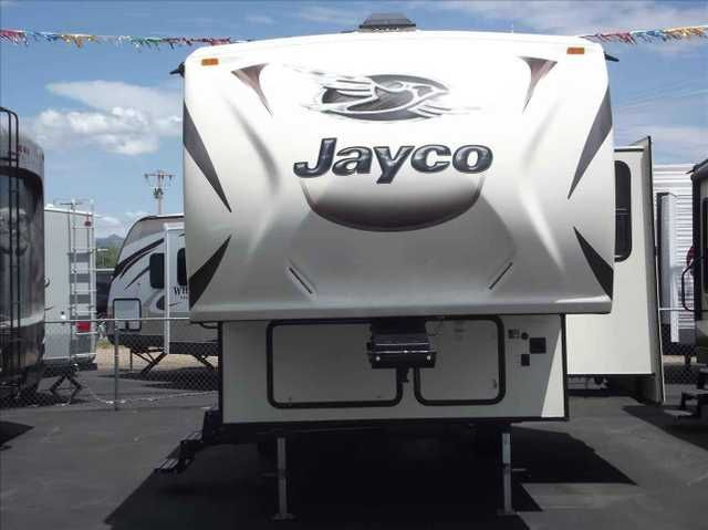 "2016 New Jayco EAGLE SUPER LITE 26.5BHS Fifth Wheel in Arizona AZ.Recreational Vehicle, rv, Nice lightweight 5th wheel that will sleep a whole bunch.It comes with Jayco's ""Best in the Industry"" 2 YEAR Warranty. It has a 15k Whisper Quiet air conditioner. A/V System W/HDMI&BLUETOOTH, rear 2"" accessory receiver, aluminum rims, bathroom power vent, Denver Pillowtop mattress, electric patio awning W/LED lights, refer, microwave, oven, solar prep, wireless remote, freestanding table & chairs…"