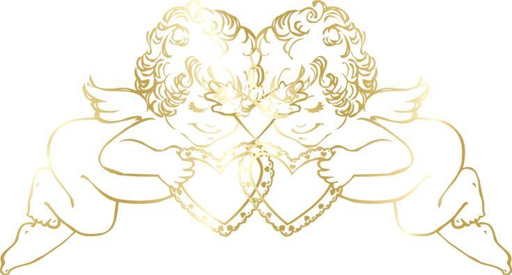 Прозрачная Золотые Ангелы с сердцами декоративный орнамент