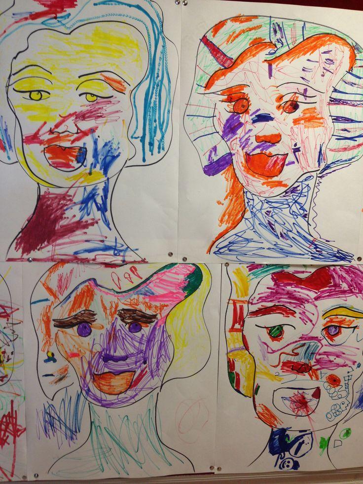 Preps exploring line marking and colour. Pop Art inspired Marilyn Monroe group work.