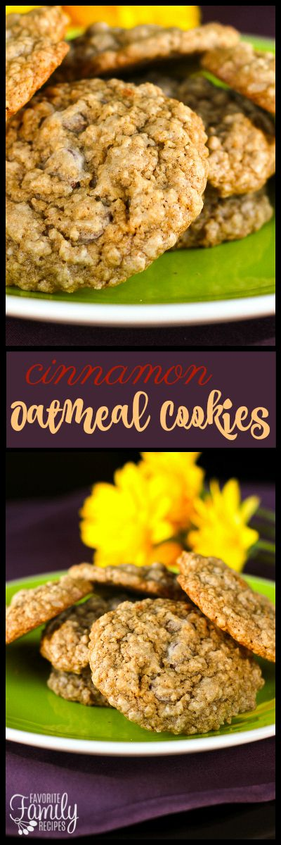Shipp's Cinnamon Oatmeal Cookies are chewy on the inside with a thin, crispy outer layer. We love adding raisins or chocolate chips to the dough! via @favfamilyrecipz
