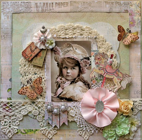 Little Lady Premade Scrapbook Page 12 x 12 Vintage, Shabby Chic,  Wedding, Art, Layout, Prima