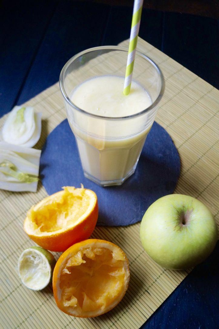 Smoothie super vitaminé à base de pomme verte Grany Smith, de fenouil, orange et citron vert à faire avec ou sans Thermomix