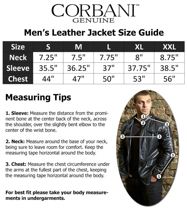 Size Guide for Corbani Genuine Mens Leather Jackets