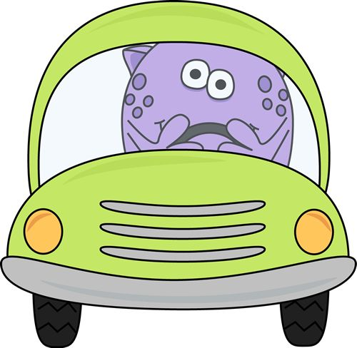 Monster driving a car.