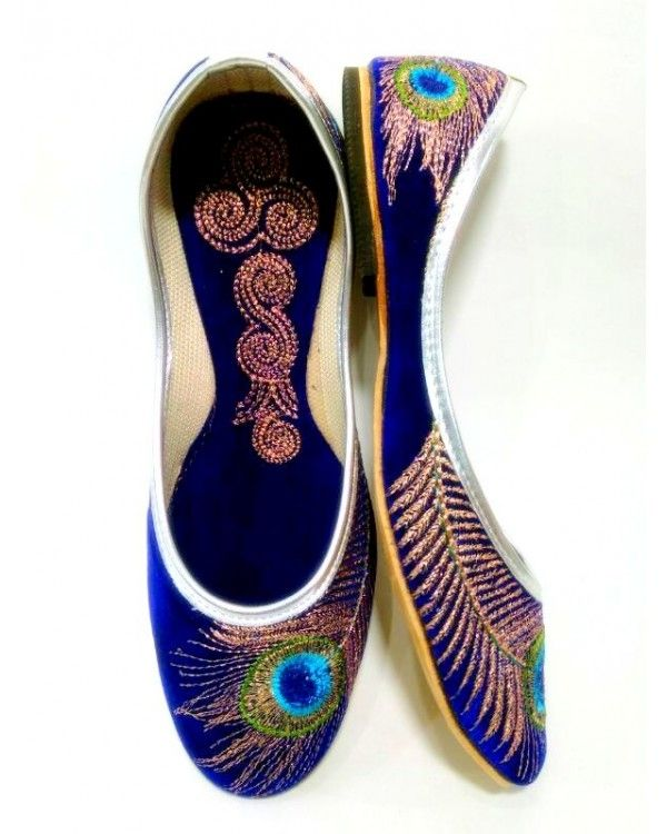 Blue Handmade Peacock Embroidery Mojari from Punjabi Jutti Store