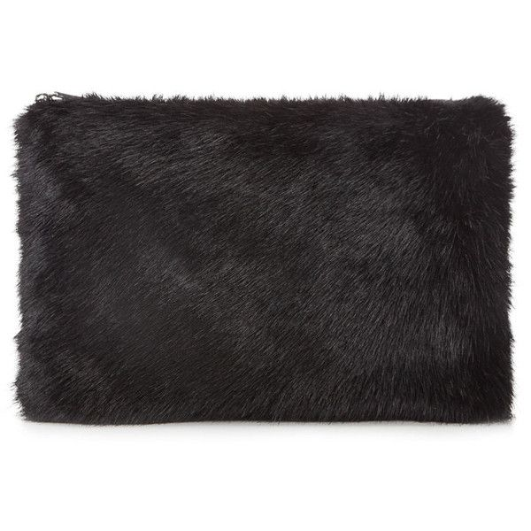 Whistles Faux Fur Clutch (2,155 MXN) ❤ liked on Polyvore featuring bags, handbags, clutches, accessories, black, fillers, faux fur purse, whistles handbags and faux fur handbags