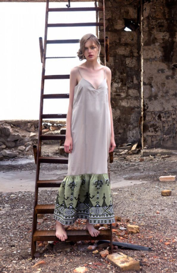 Long Cotton Dress with Embroidered Details in Olive Green. Handcrafted in Greece Attached Fabric 1: 100% cotton Attached Fabric 2: 100% cotton Free Size: Made for women that shape the clothes