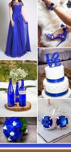 cobalt blue rustic wedding ideas and bridesmaid dresses
