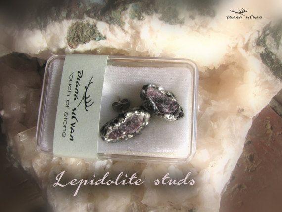 Raw lepidolite studs natural lepidolite lithium mica studs