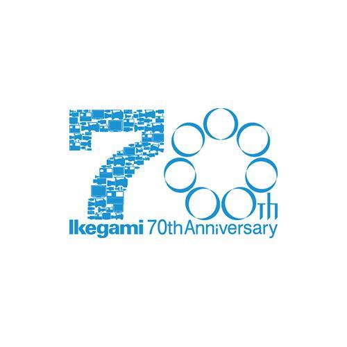 池上通信機創立70周年記念のロゴマーク。 70という数字が大きく表現されています。 よくみると「